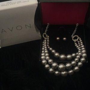 Avon Triple Strand Necklace & Earrings Grey